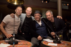With singer Paul Pashley, John Thomson & Clint Boon.